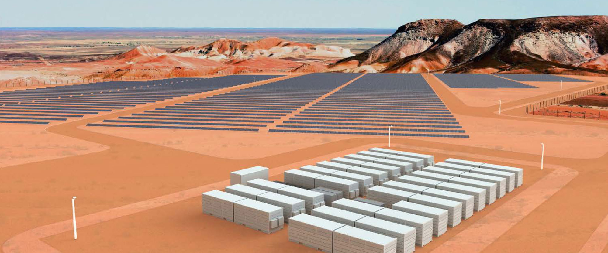Vanadium batteries and solar panels in the australian outback